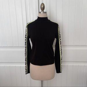 H&M Black Mock Neck Top with Pinstripe Wording